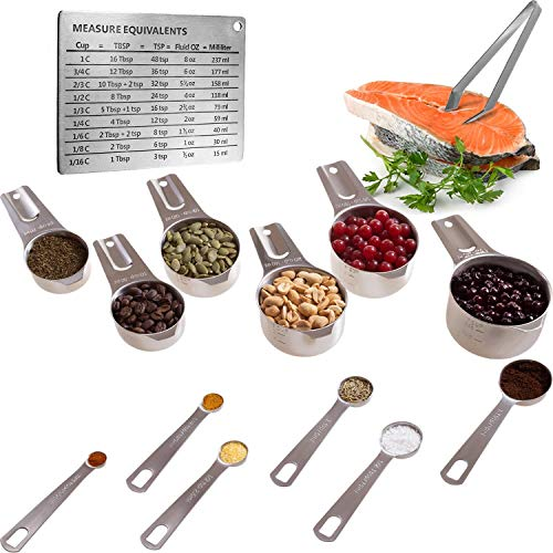 - Wow Four Design Measuring Cups and Spoons Set of 6 Measuring Cups and 6 Measuring Spoons Bonus Measuring Magnetic Chart and a Fish Bone Tweezer 12 Piece Stackable Set Stainless Steel