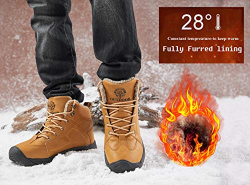 Axcone Homme Femme Chaussures Trekking Randonnée Bottes de Neige Hiver Imperméable Outdoor Boots Fourrure Cuir… 4