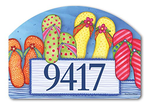 Yard DeSigns Studio M Favorite Flip Flops Summer Whimsical Decorative Address Marker Yard Sign Magnet, Made in USA, Superior Weather Durability, 14 x 10 Inches