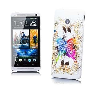 iCues 4250786215396 - Carcasa protectora para HTC One M7 (incluye protector de pantalla, diseño de flores con diamantes de imitación y mariposa multicolor)