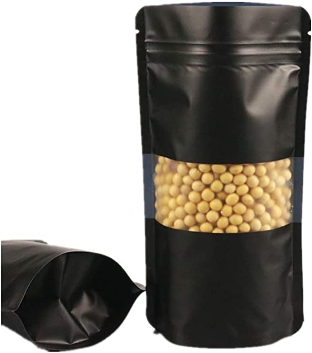 100x Plastic Zip Lock Stand Up Bags Pouches With Notch And Matte Window Food Saver Paper Party Gift Favor Wrap For Candy Coffee Beans Nuts (Food Bags Black, 20x30cm (7.9