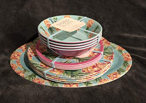 (Tommy Bahama 100% Melamine 13-Piece Dinnerware, 1-Serving Platter, 4- Dinner Plates, 4-Salad Plates, 4-Cereal/Soup Bowls HAWAIIAN PINEAPPLES )