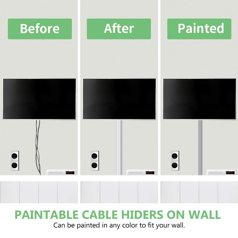 Hiding Wall Mount TV Powers Cords in Home Office Cable Concealer Self Adhesive Wall Cable Tidy Cable Cover W24mm X H14mm 8X L400mm 3.2 Meter Cable Trunking Kit
