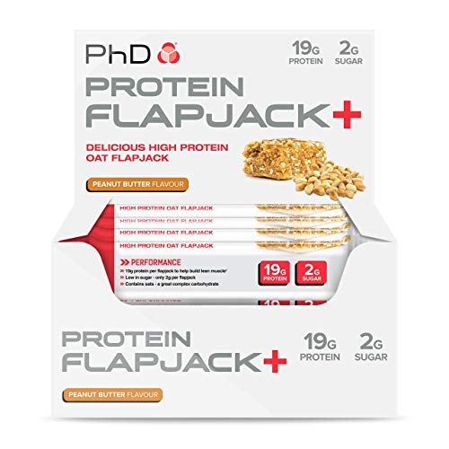 PhD Nutrition High Protein Flapjack+ Bars, Peanut Butter, 75 g, Pack of 12