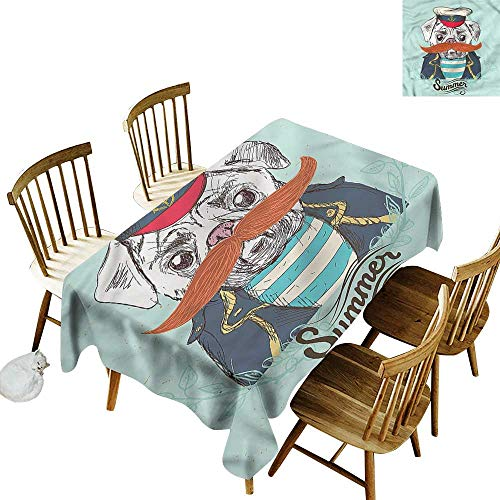 Resistant Table Cover Pug Captain Dog with Hat Jacket Dinner Picnic Table Cloth Home Decoration 60