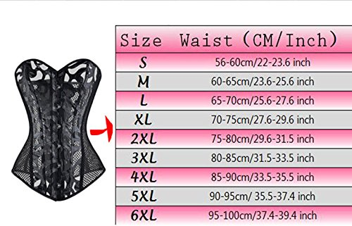 Corset Dress Waist Boned Top Trainer 2XL L Plus Belt Size Steel Black02 Underbust Women Black09 Sexy vUwnq