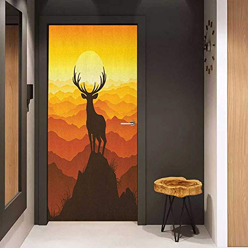 Onefzc Soliciting Sticker for Door Antlers Deer at Sunset Adventure Wildlife Panoramic Valley Hill Silhouette Mural Wallpaper W31 x H79 Burnt Sienna Amber Marigold