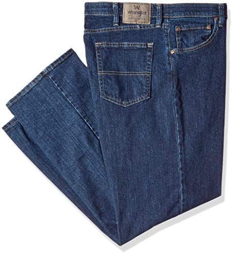Cotton 5 Pocket Jean - Wrangler Authentics Men's Big and Tall Regular Fit Comfort Flex Waist Jean, Dark Indigo, 54x30