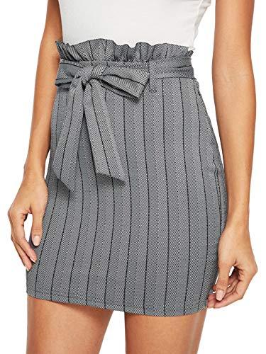 SheIn Women's Basic Ruffle Trim Tie Waist Plaid Bodycon Mini Pencil Skirt Large Grey_4
