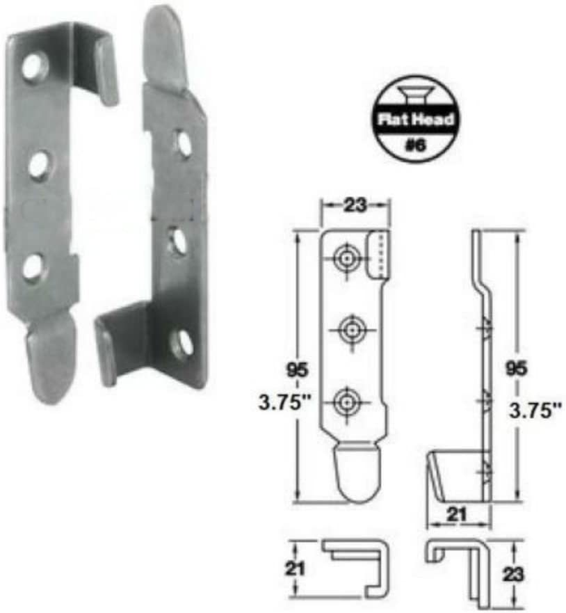 """4 left,4 right 3.75/""""L Bed Connecting Bracket Rail Fastener SET -Made in France"""