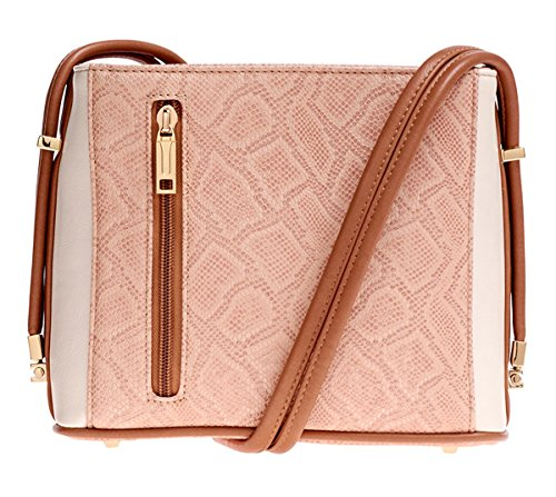 Samoe Style Pale Pink Bisque Snakeskin and Cream Crossbody