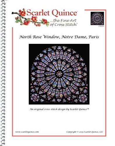 Scarlet Quince UNK040 North Rose Window, Notre Dame, Paris Counted Cross Stitch Chart, Regular Size Symbols