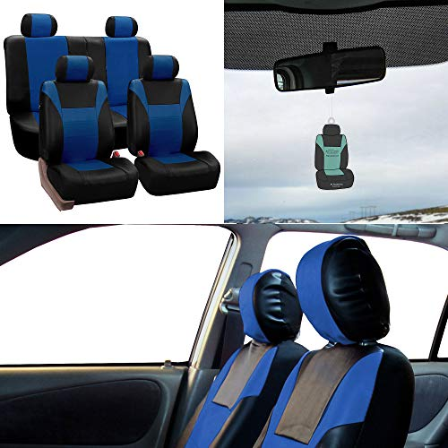 FH Group PU003114 Racing PU Leather Full Set Car Seat Covers, Airbag & Split ready w. Free Airfreshener, Blue/Black Color - Fit Most Car, Truck, Suv, or - Civic Wheel 99 Racing Steering
