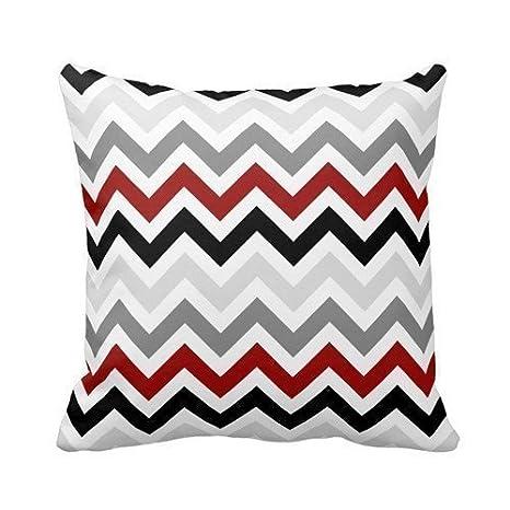 Rojo oscuro negro gris Chevron patrón de Zigzag funda de ...