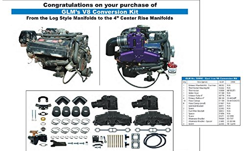 Mercruiser 5.0l & 5.7l Exhaust Manifold Conversion Kit | GLM Part Number: 58990; Mercury Part Number: 77234A7, 77235A8