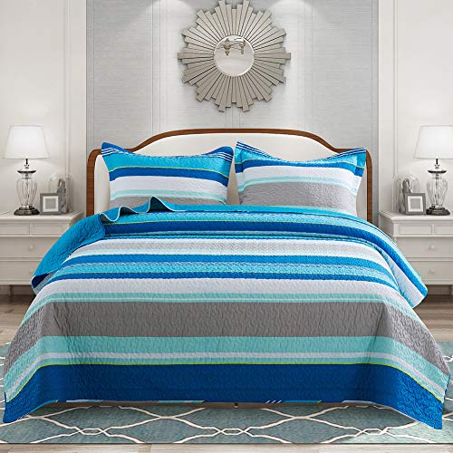 NEWLAKE Cotton Bedspread Quilt Sets-Reversible Patchwork Coverlet Set, Modern Simply Stripes Style,Queen Size