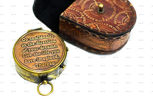 Sailor's Art Brass Compass with Stamped Leather Case Antique Home Décor Item Engraved Thoreau's Go Confidently Quote |