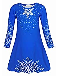 AmzBarley Girls Nightgowns Sleepwear Elsa Sleepshirts Long Sleeve Kids Pajamas Night Sleep Dress