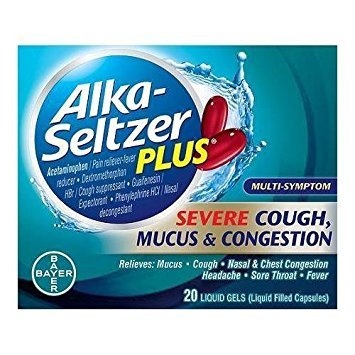 Alka-Seltzer Plus Severe Cough, Mucus & Congestion Relief Liquid Gels, 20 count - Buy Packs and SAVE (Pack of 2)