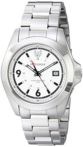 Swiss Eagle Men's SE-9066-22 Dufaux Analog Display Swiss Quartz Silver Watch