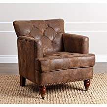 Abbyson Living Misha Tufted Leather Accent Chair in Antique Brown