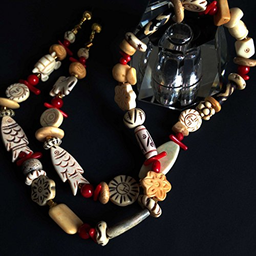 Red Coral and Bone African Eyeglass Chain