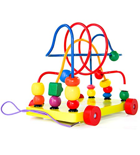 Boxiki kids Wooden Bead Maze Pull Toy & Activity Cube | Early Childhood Education Toys to Develop Cognitive Thinking & Fine Motor Skills | Wooden Roller Coaster for Kids, Toddlers & Children by by Boxiki kids