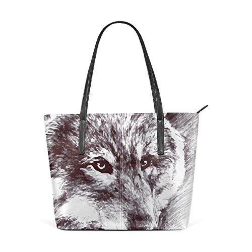 COOSUN Blanco y negro pintura del lobo del hombro bolso de cuero del monedero y bolsos de la bolsa de asas para las mujeres Medio muticolour
