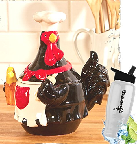 Gift Included- Country Farmhouse Kitchen Chef Ceramic Rooster Cookie Jar Decor + FREE Bonus Water Bottle by Home Cricket Homecricket ()