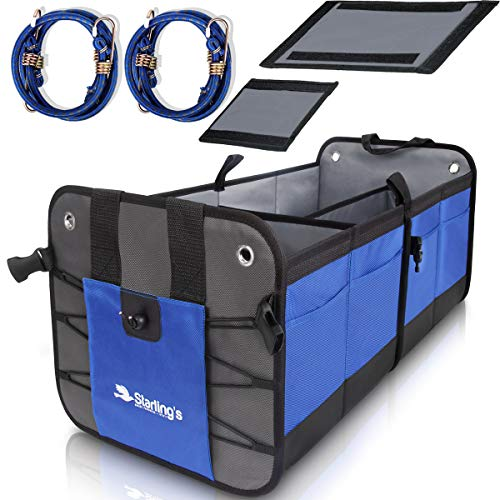 Starling's Car Trunk Organizer Durable Collapsible Adjustable Compartments, Blue -