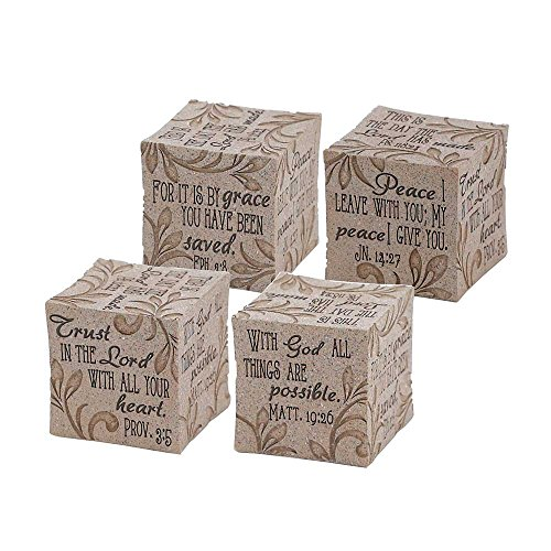 Inspirational Christian Bible Verses Sandstone Tabletopper Cube Block Decoration