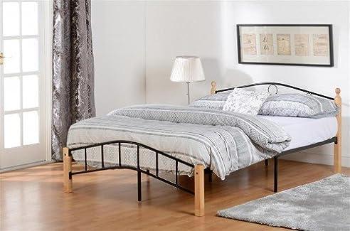 luton bett rahmen in natur schwarz niedrigem kopfteil metall holz 117 cm - Niedriges Bett Mit Kopfteil