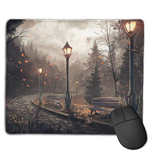 (Miniisoul Non-Slip Rubber Base Mousepad for Laptop Computer PC Personality Desings Gaming Mouse Pad Mat (Park Bench Lamp Art, 8.66 X 7.08 Inch))
