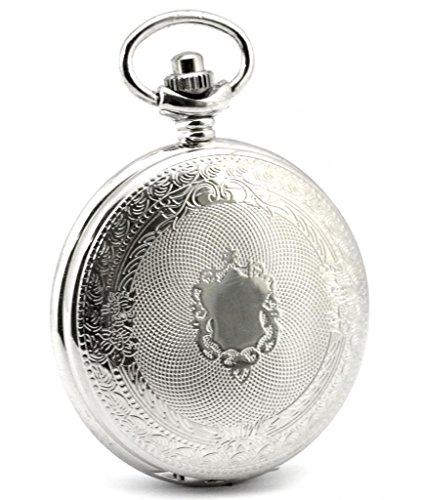 Unendlich U Klassisch Retro Handaufzug Mechanische Taschenuhr Schild Hohle Skelett Kettenuhr Pullover Halskette Silber