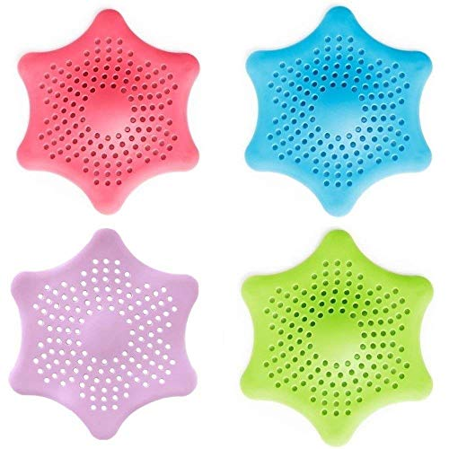 - Shower Drain Hair Catcher Hair Stopper,Hexagonal Starfish Shaped Rubber Sink Strainer,4 Pack in Assorted Colors