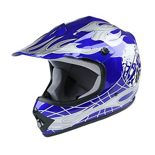 TCT-MT Helmet Goggles+Gloves New DOT Youth Blue Skull Dirt Bike ATV Motocross Large - http://coolthings.us