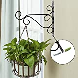 Plant Hanging Brackets with Screws- Metal Wall Planter Hook Indoor Outdoor, Flower Pot Bird Feeder Wind Chime Lanterns Hanger Plant Holder Hanger Hook Size 10''x8''