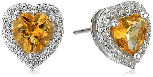 Sterling Silver Genuine Citrine and Created White Sapphire Halo Heart Stud Earrings