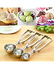 3 PCS Ice Cream Spoon Set, Cookie Scoop Set, Fruit Melon Scoop Stainless Steel Spoon Scoopers with Spring Handle Masher, Perfect Size for Cookies,Meatballs, Baking, Ice Cream