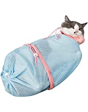 Licogel Cat Grooming Bag Mesh Detachable Scratchproof Polyester Kitten Shower Net Cat Bathing Bag Polyester Nail Trimming