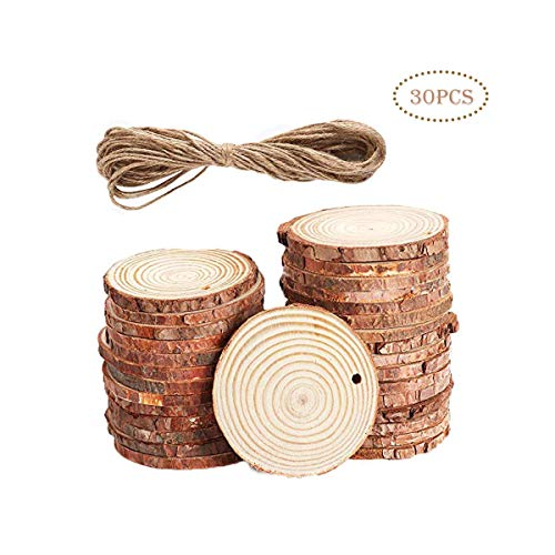 (Natural Wood Slices Wood Discs Unfinished Predrilled with Hole for DIY Crafting Coasters Arts Crafts Christmas Decorations Rustic Wedding Ornaments ... (30 Pcs 2.4