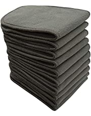 Charcoal Bamboo Reusable Inserts for Cloth Diapers, Washable Diaper Liners (10 Pack-Black) by BlueSnail