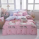 Papa&Mima Scandinavian Duvet Cover Set - Microfiber Polyester - Wrinkle, Fade, Stain Resistant - Hypoallergenic - 3 Pieces - Twin - 61'x80'(155x205cm),Hello Kitty,Pink