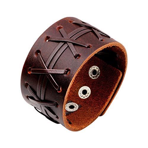 (liujun Leather Bracelet for Men Women, Fashion Design Genuine Leather Cuff Bracelets, Brown Punk Style boy Girl Bracelet, Metal Press Buckle (Brown Style 8))