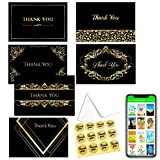 Thank You Card Notes Box of 48 With Envelopes & Stickers-Six Luxury Designs in Gold&Black Perfect for Wedding, Baby Shower,Graduation,Sympathy, Business & Funeral, Appreciation