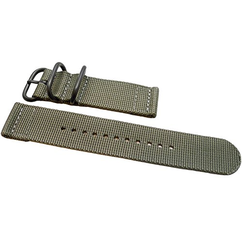 DaLuca Two Piece Ballistic Nylon NATO Watch Strap - Grey (PVD Buckle) : 20mm