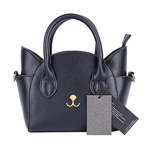 QZUnique Women's Summer Fashion Top Handle Cute Cat Cross Body Shoulder Bag Black