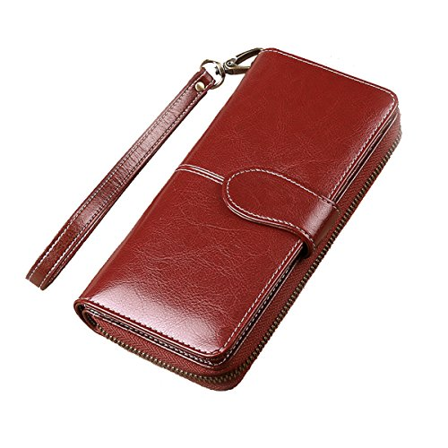 Purse Leather Wine Organizer for Ladies Women's Capacity Wax Wallet Large 6 Multi Clutch case WW001 Card Luxury WR 8 7 with Red Modesty Genuine Phone iPhone 7SOYqPY