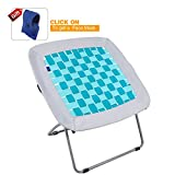 REDCAMP Folding Bungee Web Chair for Teens Kids Adults,31x31.5x31.5 inches,White & Turquoise
