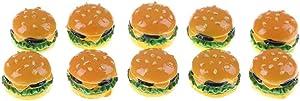 10PCS Artificial Fake Bread Hamburger Miniature Mini Food Miniature Models Resin Flatback Slime Charm Cabochons Simulation Creative Cute Artificial Fake Bread DIY Dollhouse Accessories Party Favors